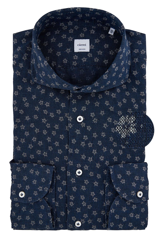 Camicia Càrrel di lino stampata blu floreale