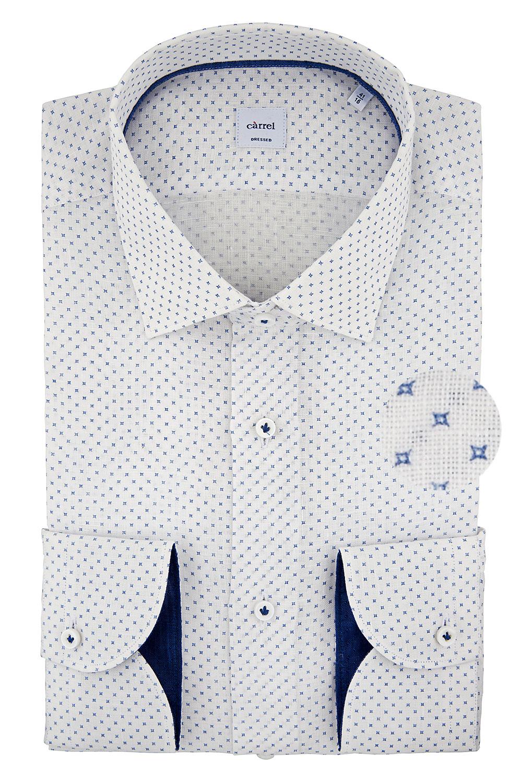Camicia Càrrel bianca di lino con interni a contrasto
